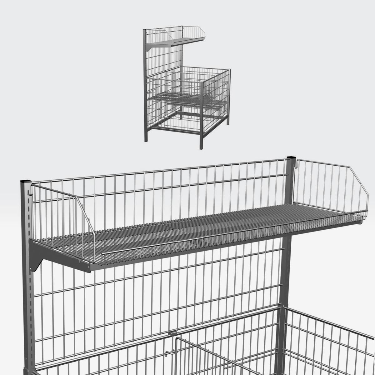 """Mensola porta oggetti con applicazione verticale per banco """"no food"""" System P"""
