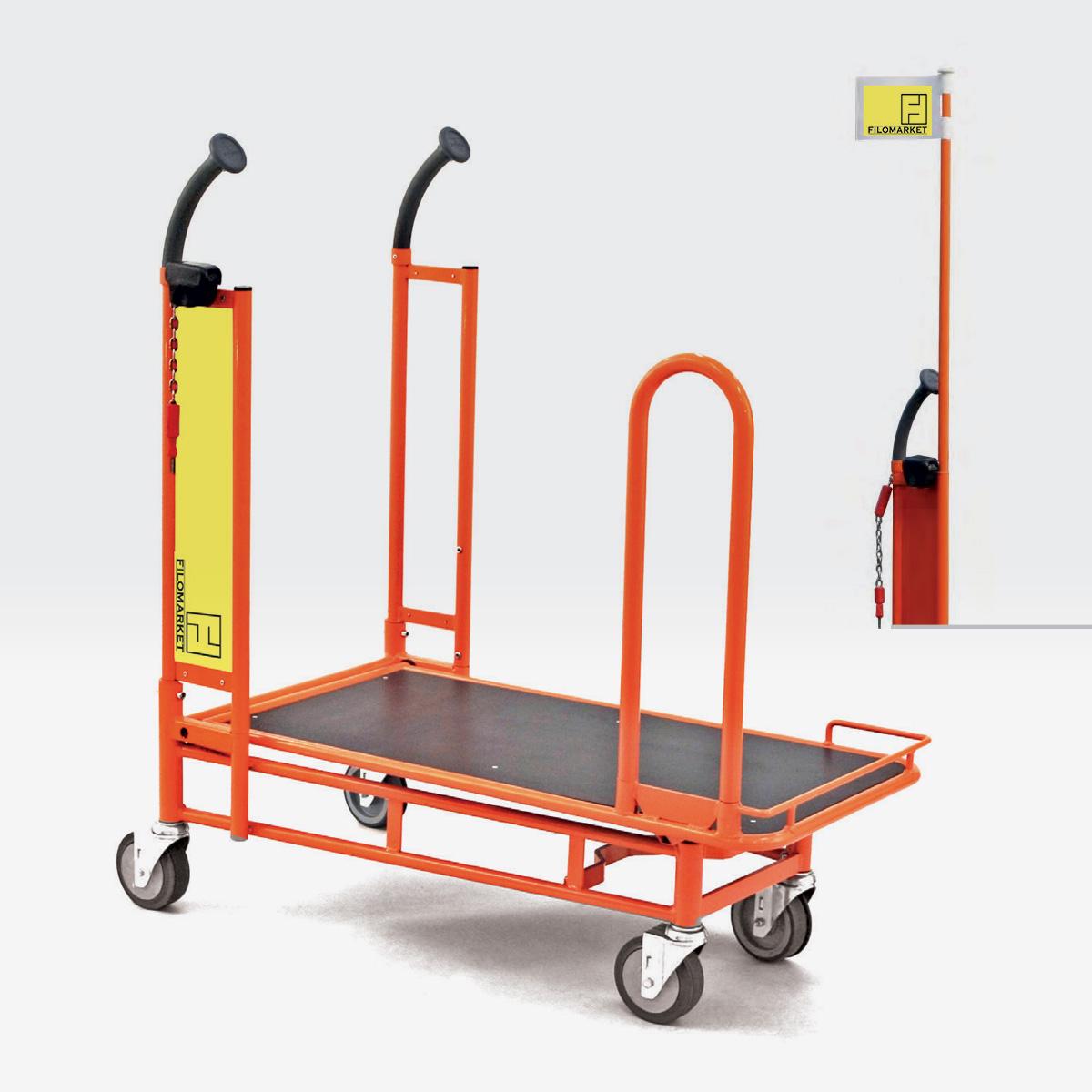 Carrello per magazzino con ruote CARRY 90 per tappeto mobile